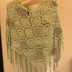 Crochet / Leather poncho